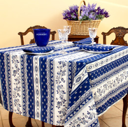 Marat Avignon Blue Square French Tablecloth150x150cm COATED Made in France