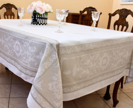 Montmirail Lin/Ecru Jacquard French Tablecloth 160x250cm 8seats Made in France
