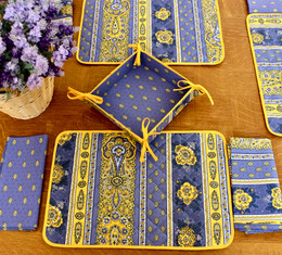 Marat Bastide Blue French Quilted Placemat COATED Made in France