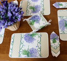 Lavender Ecru Quilted Placemat COATED Made in France