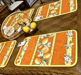 Lemon Orange Quilted Placemat COATED Made in France