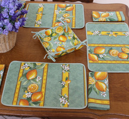Lemon Green French Quilted Placemat COATED Made in France