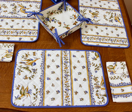 MOUSTIERS Blue Quilted Placemat COATED Made in France