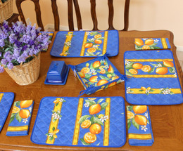 Lemon Blue French Quilted Placemat COATED Made in France