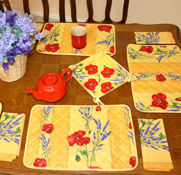 Poppy Yellow French Quilted Placemat COATED Made in France