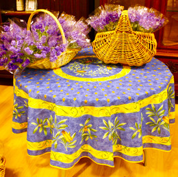 Cicada French Tablecloth Round180cm COATED Made in France