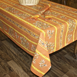 Clos des Oliviers Orange French Tablecloth 155x300cm 10Seats Made in France