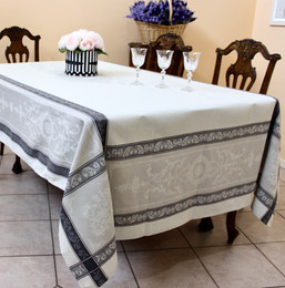 Montmirail Grey Jacquard French Tablecloth 160x300cm 10seats Made in France
