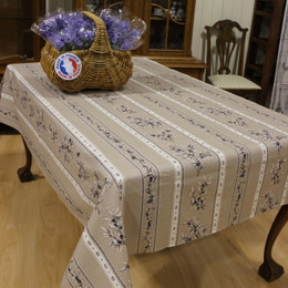 Olive les Baux Taupe French Tablecloth 155x200cm 6seats Made in France