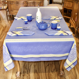 Olivia Blue160x350cm 12Seats Jacquard French Tablecloth Made in France