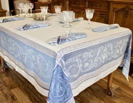 Versailles Blue 160x350cm 12Seats Jacquard French Tablecloth Made in France