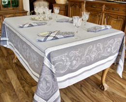 Versailles Perle 160x350cm 12Seats Jacquard French Tablecloth Made in France