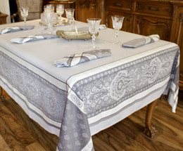 Vaucluse Perle160x350cm 12Seats Jacquard French Tablecloth Made in France