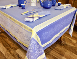 Olivia Blue Jacquard French Tablecloth 160x200cm 6seats Made in France