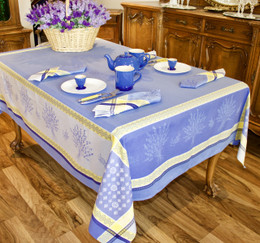Riez Blue Jacquard FrenchTablecloth 160x200cm 6seats Made in France
