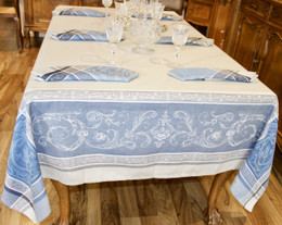 Versailles Blue Jacquard French Tablecloth 160x200cm 6seats Made in France