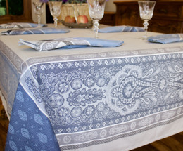 Vaucluse Blue Jacquard FrenchTablecloth 160x200cm  6seats Made in France
