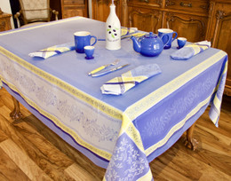 Olivia Blue Jacquard French Tablecloth 160x300cm 10seats Made in France