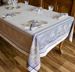 Romantique Lin Jacquard French Tablecloth 160x300cm 10seats Made in France