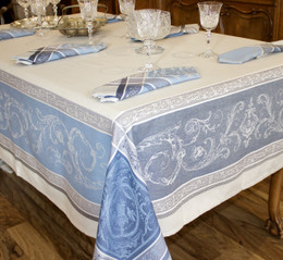 Versailles Blue Jacquard French Tablecloth 160x300cm 10seats Made in France