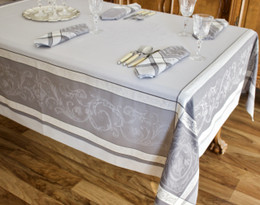 Versailles Perle Jacquard French Tablecloth 160x300cm 10seats Made in France