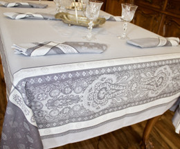 Vaucluse Perle Jacquard French Tablecloth 160x300cm 10seats Made in France