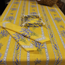 Valensole Yellow/Linear French Tablecloth 155x250cm 8seats Made in France