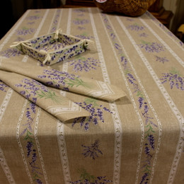 Valensole Lin/Linear French Tablecloth 155x250cm 8seats Made in France