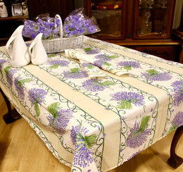 Lavender Ecru/Linear French Tablecloth 155x250cm 8seats COATED Made in France