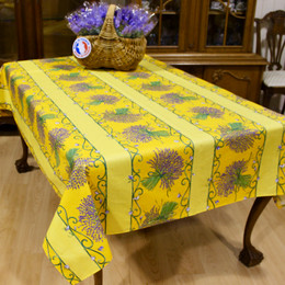 Lavender Yellow/Linear French Tablecloth 155x250cm 8seats COATED Made in France