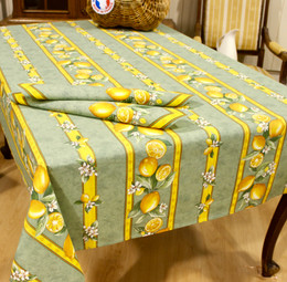 Lemon Green/Linear French Tablecloth 155x250cm 8seats COATED Made in France