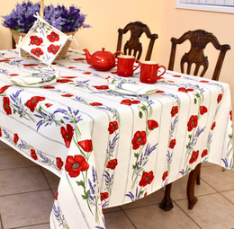 Poppy Ecru/Linear French Tablecloth 155x250cm 8seats COATED Made in France
