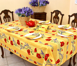 Poppy Yellow/Linear French Tablecloth 155x250cm 8seats COATED Made in France