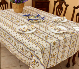 Moustiers Blue Linear French Tablecloth 155x250cm 8seats COATED Made in France