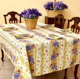 Lavender & Roses Linear French Tablecloth 155x250cm 8seats COATED Made in France