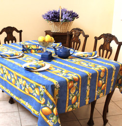Lemon Blue Linear French Tablecloth 155x250cm 8seats COATED Made in France