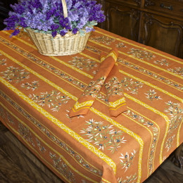 Clos des Oliviers Orange 155x350cm 12Seats French Tablecloth Made in France