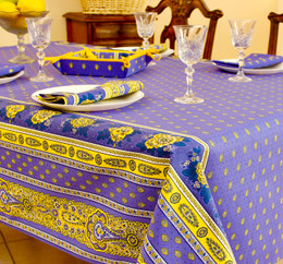 Marat Avignon Bastide Blue 155x350cm 12Seats French Tablecloth Made in France