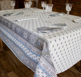 Marat Avignon Bastide Turquoise 155x350cm 12seats COATED French Tablecloth Made in France