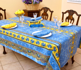 Marat Avignon Tradition Blue 155x350cm 12seats COATED French Tablecloth Made in France