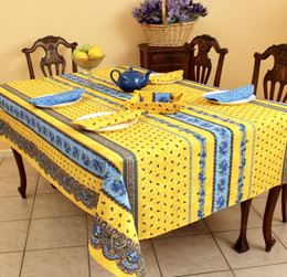 Marat Avignon Tradition Yellow 155x350cm 12seats COATED French Tablecloth Made in France