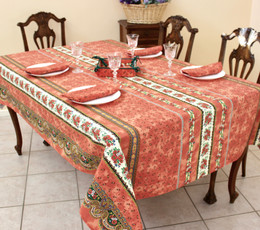 Marat Avignon Tradition Rust 155x350cm 12seats COATED French Tablecloth Made in France