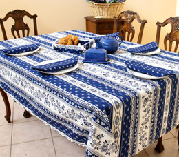 Marat Avignon Blue 155x350cm 12seats COATED French Tablecloth Made in France