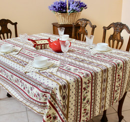 Marat Avignon Ecru 155x350cm 12seats COATED French Tablecloth Made in France