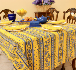 Marat Avignon Yellow155x350cm 12seats COATED French Tablecloth Made in France