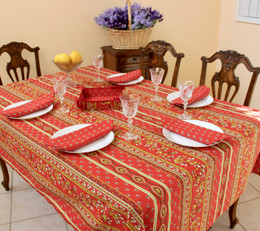 Marat Avignon Red155x350cm 12seats COATED French Tablecloth Made in France