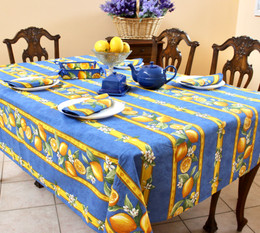 Lemon Blue 155x350cm 12Seats French Tablecloth Made in France