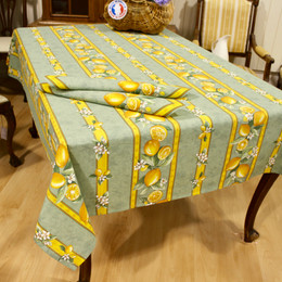 Lemon Green 155x350cm 12Seats French Tablecloth Made in France