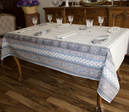 Marat Avignon Bastide Turquoise French Tablecloth  155x250cm 8 seats COATED Made in France