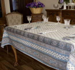 Marat Avignon Bastide Turquoise French Tablecloth 155x200cm 6 Seats COATED Made in France